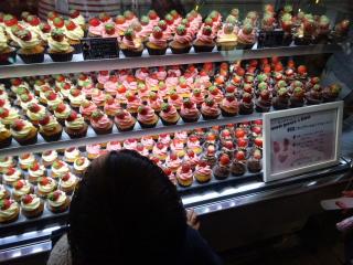 苺が乗ったカップケーキ