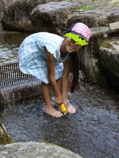 水遊びをするテラ美